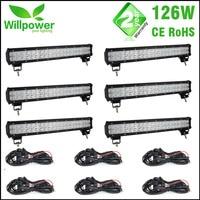 Wholesale6PCS 12 В двойной ряда Led дальнего света IP67 Водонепроницаемый свет работы 126 Вт 20 дюймов внедорожнике светодиодные бар