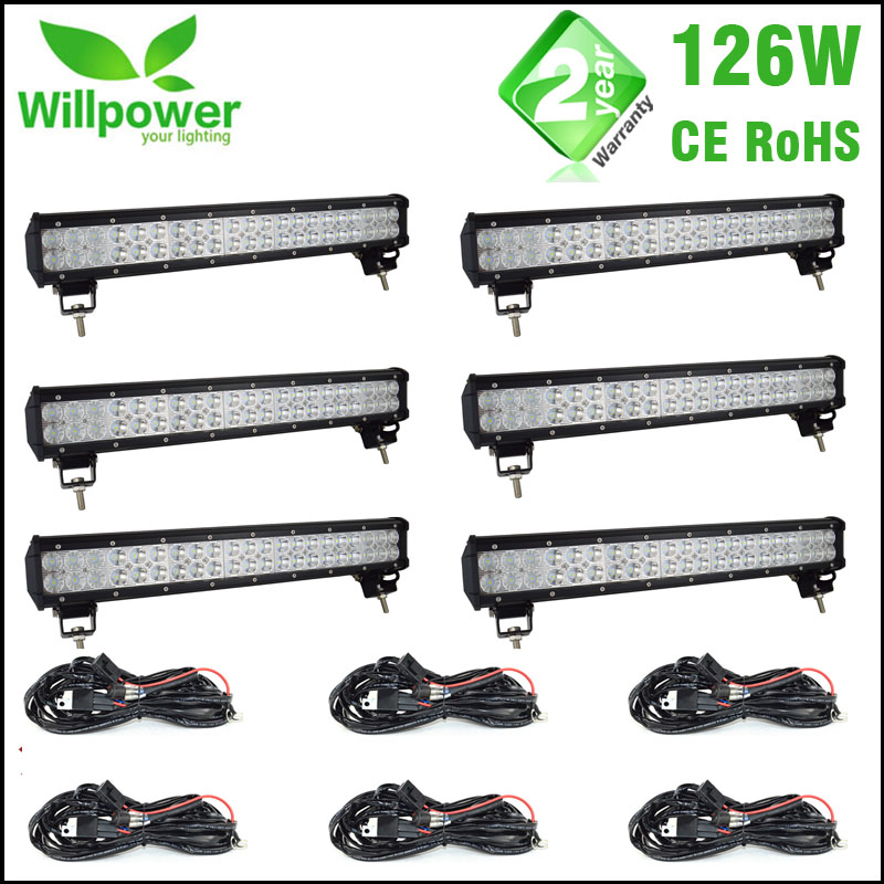 Wholesale6PCS 12v Dual Rows Led Driving Light IP67 Waterproof Work Light 126W 20 inch Offroad Car Led Light Bar