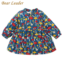 Bear Leader Girls Dress 2017 New Autumn Brand Baby Girls Blouse Cute Mushroom Print Kids Shirts Crew Neck Children Clothing