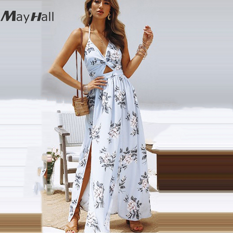 Mayhall  Fashion Floral Women Dress 2018 Summer Bow Beach Lace Up Backless Sexy Strap Holiday Halter Vestido MH157