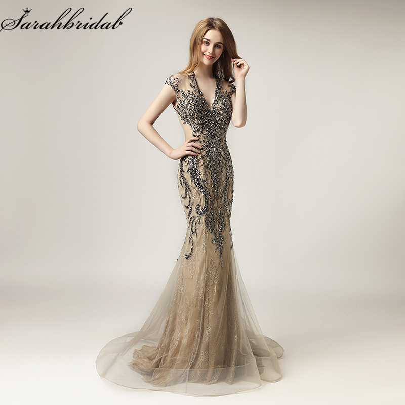 Robe De Soiree In Stock New Sexy Vestidos Mocha Mermaid Formal Evening Dresses Crystal Beaded Tulle Women Party Gowns LSX430