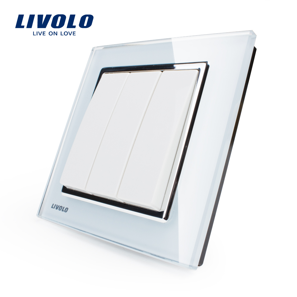 Livolo New Wall Light Switch,White Crystal Glass Panel, AC 110~250V 3Gang 1 Way Push Putton Switch,with logoLivolo New Wall Light Switch,White Crystal Glass Panel, AC 110~250V 3Gang 1 Way Push Putton Switch,with logo