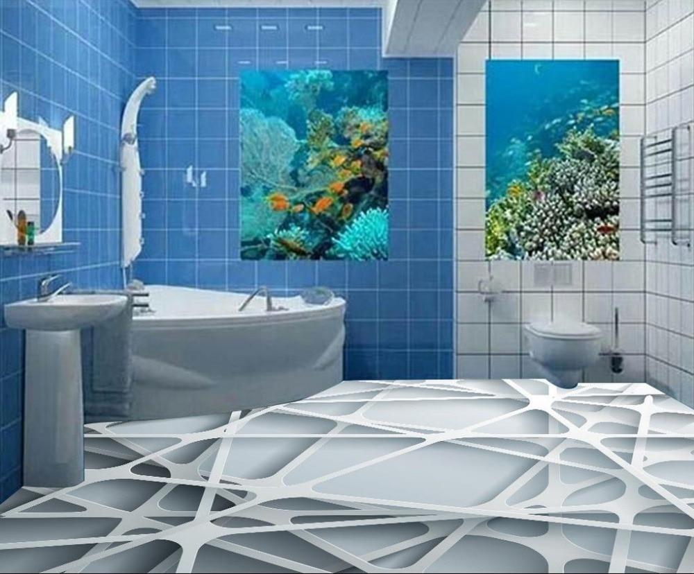 Aliexpresscom Buy Custom D Floor Abstract Grid Pattern Wallpaper - Non slip vinyl flooring for bathrooms