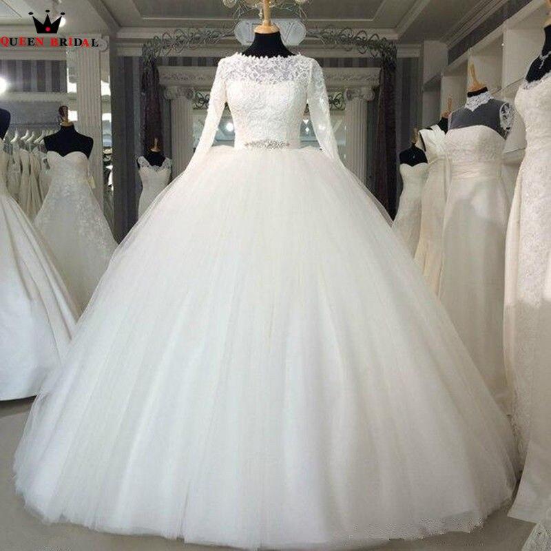 Королевское свадебное платье принцессы с длинным рукавом, кружевное Пышное роскошное торжественное свадебное платье с бусинами, свадебное