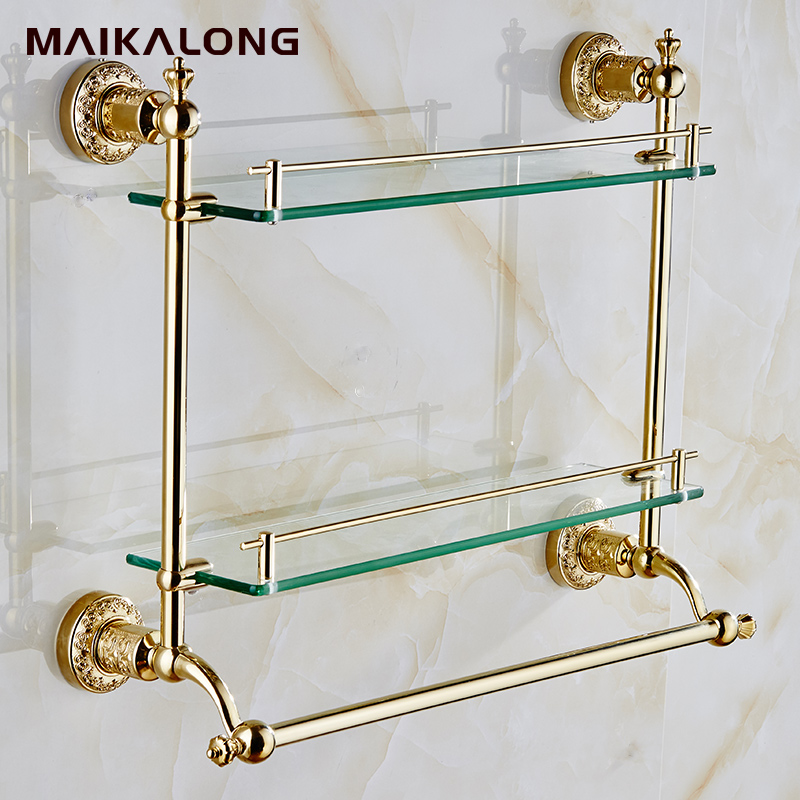 bathroom accessories glass shelf wall mount with towel bar and railgold finishno