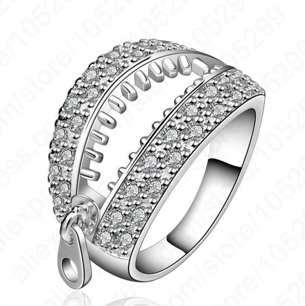 Personality Zipper Design Finger Rings Fine 925 Sterling Silver Cubic Zironia Crystal Woman Lady Jewelry Free Shipping