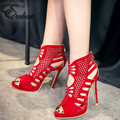 Red And Black Gladiator 11.5cm super High Heels Fish Mouth Women's Shoes Sexy Party wedding thin heels Rome pumps size 30-48