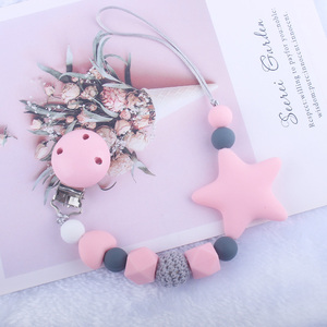 Newest Pacifier Clips Chain Eco-friendly Newborn Baby Teething Clip Food Grade Silicone Star Feeding Chain