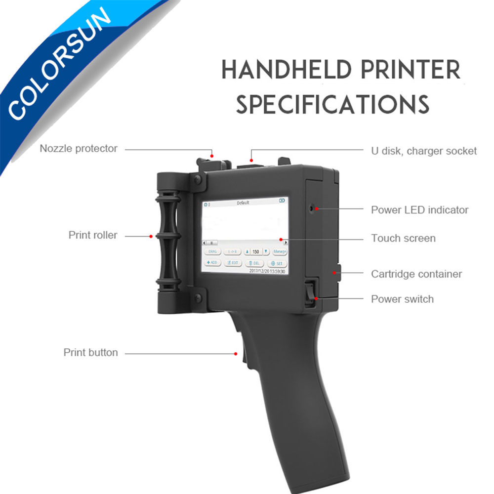 3.5 inches Handheld Intelligent Inkjet Printer Touch Screen 360T Ink Date Coder Coding machine + Quick-drying ink cartridge