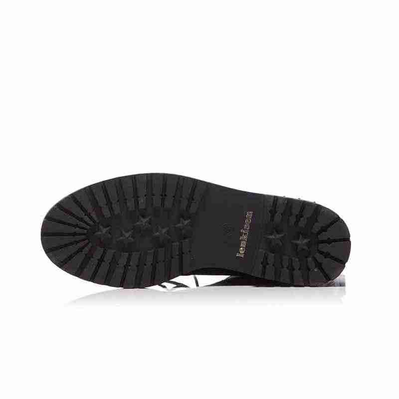 Lenkisen 2018 Новое поступление и заклепками, без шнуровки, с круглым носком, на среднем каблуке натуральный кожаный ремень пряжка застежка-молния рок мотоциклетные ботинки L67