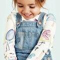 2016 Outono Nova camisa Dos Miúdos T 100% Algodão dos desenhos animados impressão Full meninas do bebê T camisas O Pescoço Tops