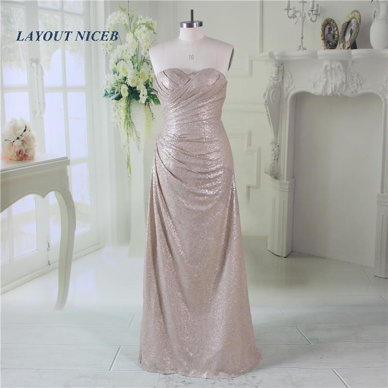 Fashion Bling Bling Sequin   Bridesmaid     Dresses   Long Fashion A Line Sweetheart Neck Gowns