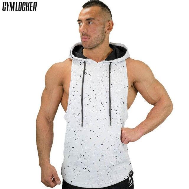 f47d222794255f GYMLOCKER męskie bezrękawnik z kapturem moda bluza z kapturem kulturystyka  mężczyzn kamizelka odzież bluzy męskie z