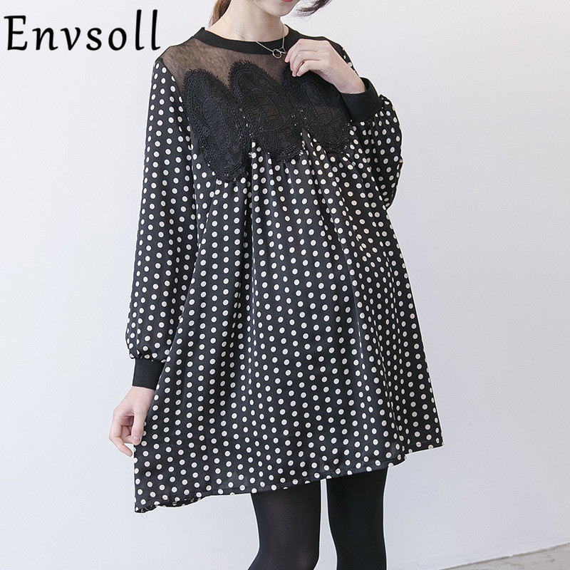 Envsoll 2018 New Spring Summer Maternity Dress Korean Loose Lace Chiffon Pregnant Dresses Pregnancy Clothes For Pregnant Women