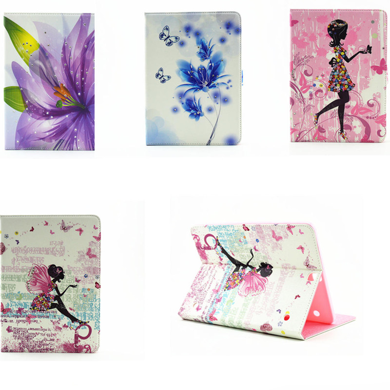 LY-Z Fashion Cartoon Flower Pu Leather Stand Flip Case for Samsung Galaxy Tab S2 9.7 SM T815C T810 T815 T813 T819 Tablet PC luxury flip stand case for samsung galaxy tab 3 10 1 p5200 p5210 p5220 tablet 10 1 inch pu leather protective cover for tab3