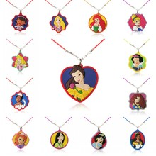 1PCS PVC Necklace Cartoon Figure Beautiful Princess Doc McStuffins Chain Pendant Cute Minnie Charms Choker Fashion Jewelry