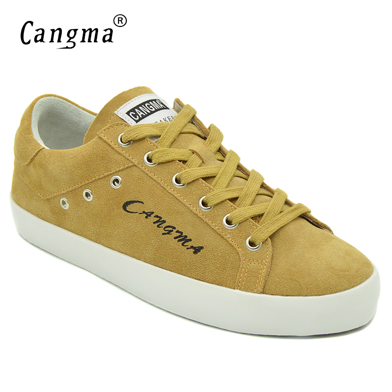 74817513da0 CANGMA Designer Brand Womans Flats Cow Suede Autumn Italy Yellow Shoes Women  Sneakers Chaussures Girls Plus
