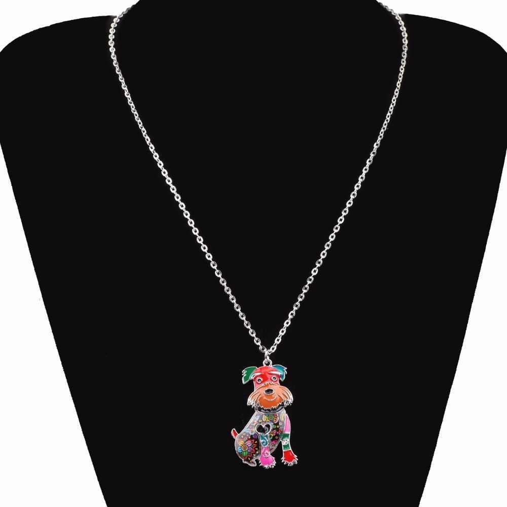 Bonsny Erklärung Zink-legierung Schnauzer Hund Terrier Halsband Halskette Kette Anhänger Kragen Mode Neue Emaille Schmuck Für Frauen Mädchen