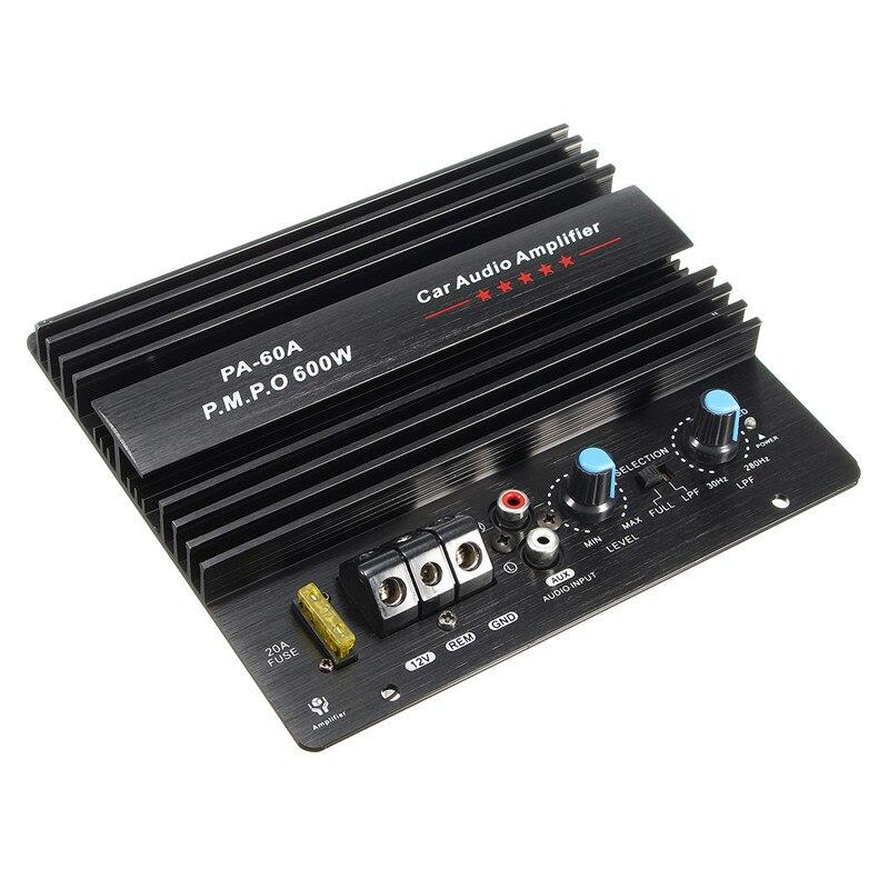 KROAK negro 12 V 600 W tablero amplificador Mono coche amplificador de potencia de Audio potente bajo Subwoofers Amp PA-60A