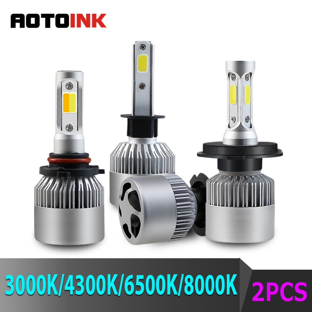 AOTOINK 2X3000K <font><b>H3</b></font> <font><b>LED</b></font> H1 H11 H8 HB4 H7 <font><b>H3</b></font> HB3 Auto S2 Car Headlight Bulbs 72W 8000LM Car Styling 6500K 4300K 8000K <font><b>LED</b></font> light CJ image