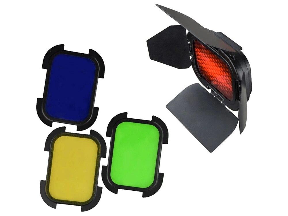 Godox BD-07 Barndoor  With 4 Color Gels For AD200 AD200Pro Speedlight Head