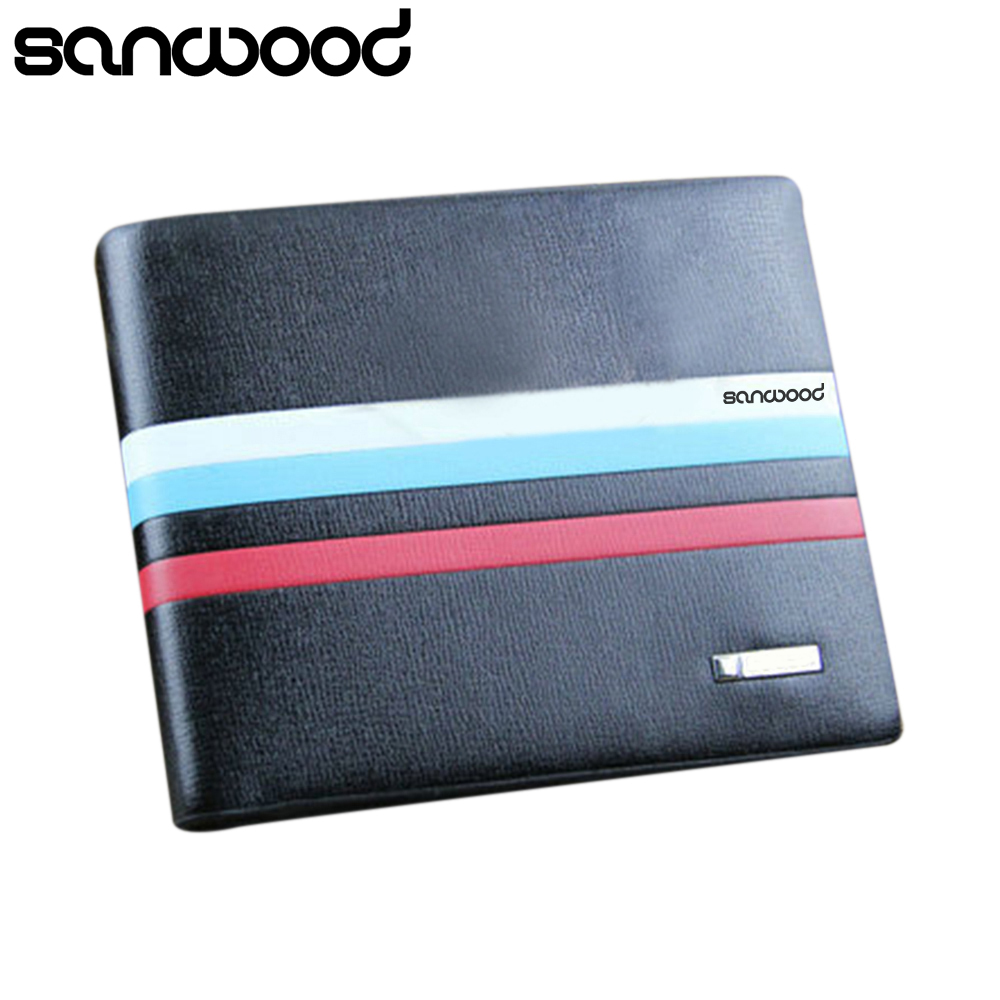 2015 Men Fashion Stripe Bifold Faux Leather Business Wallet ID Card Holder Pocket Coin Purse 6O4P