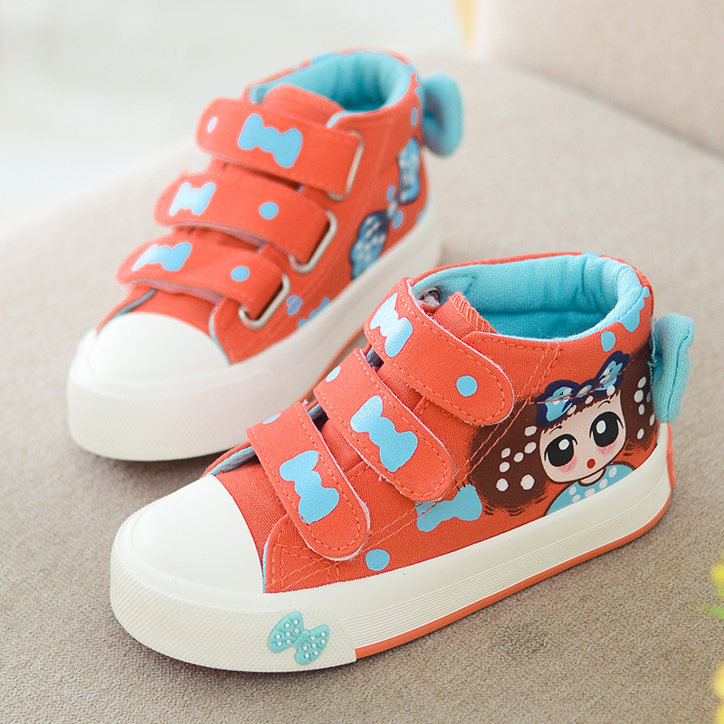 Yeeshow 2016 Spring New Kids Shoes,Breathable Canvas Girls Shoes,Chaussure Enfant,Wearable High Sneakers For Girl Children Shoes