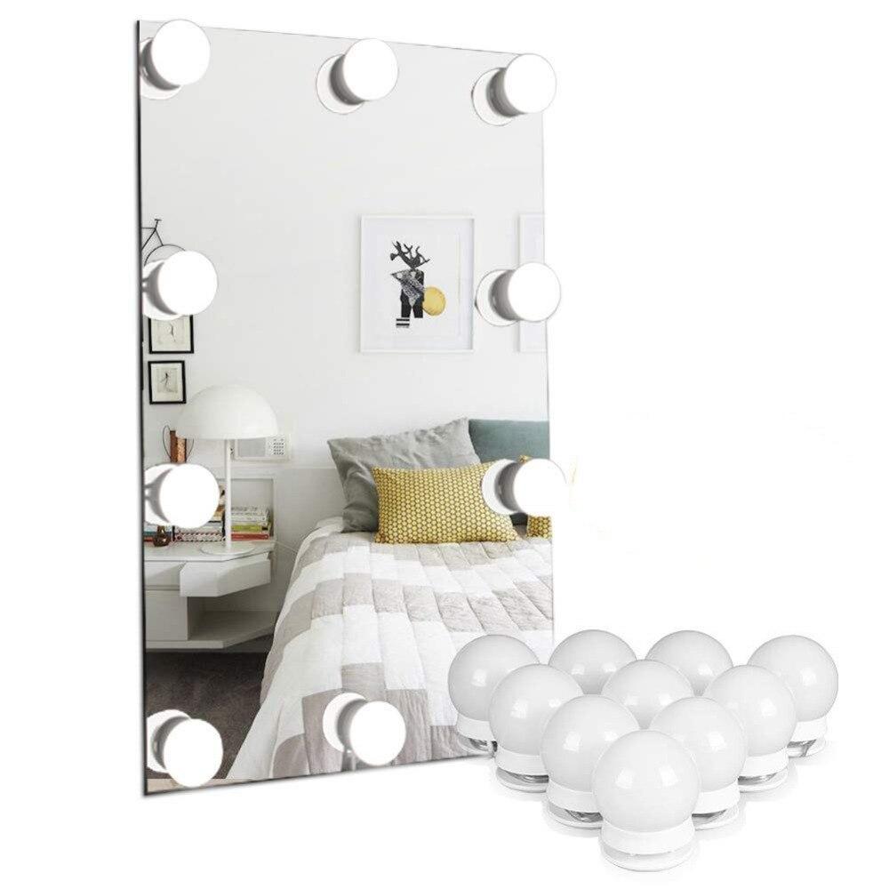 kit de maquiagem espelho espelho de vaidade levou lampadas de luz porta de carregamento usb iluminado