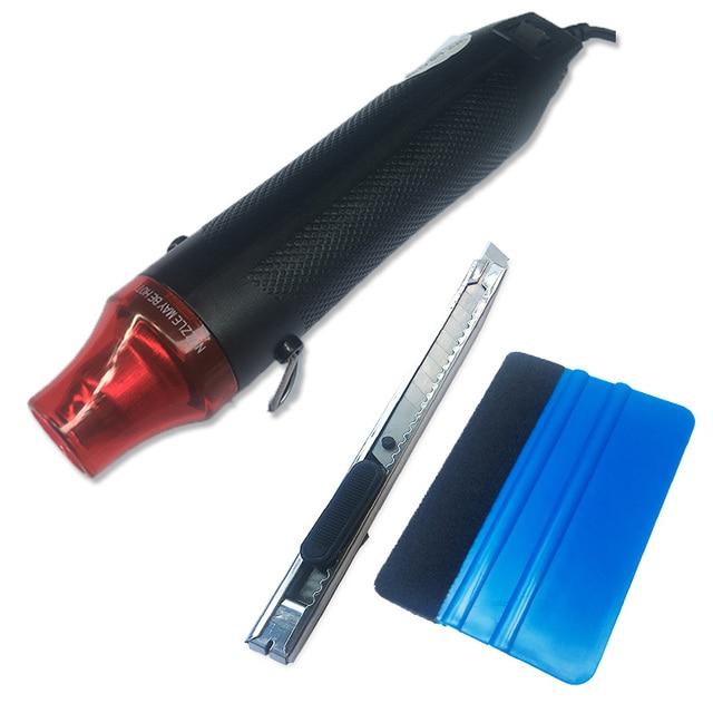 3 ピース/セットオートカービニルフィルムツールキット電気熱風ヒートガンeuプラグ + カースクレーパースキージ + ビニールカッターナイフ