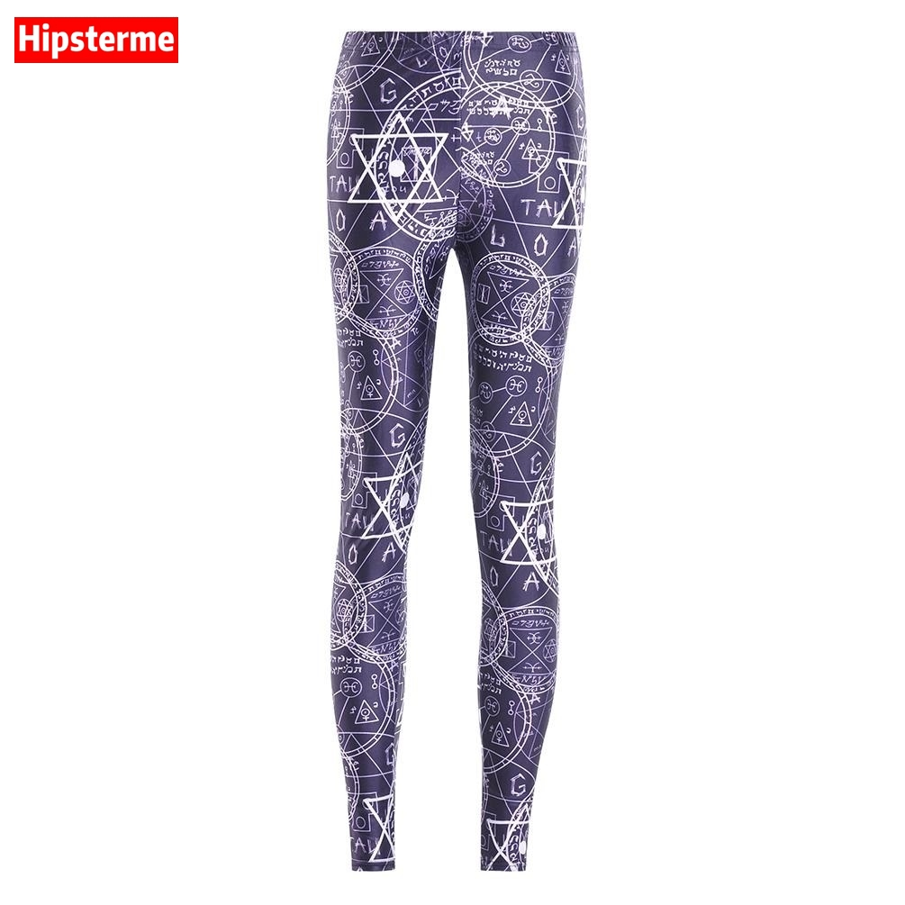 Hipsterme Plus Size Women breathable Leggings Pants Work out Messy formula Printed Casual Sexy Bottom Fitness Leggings