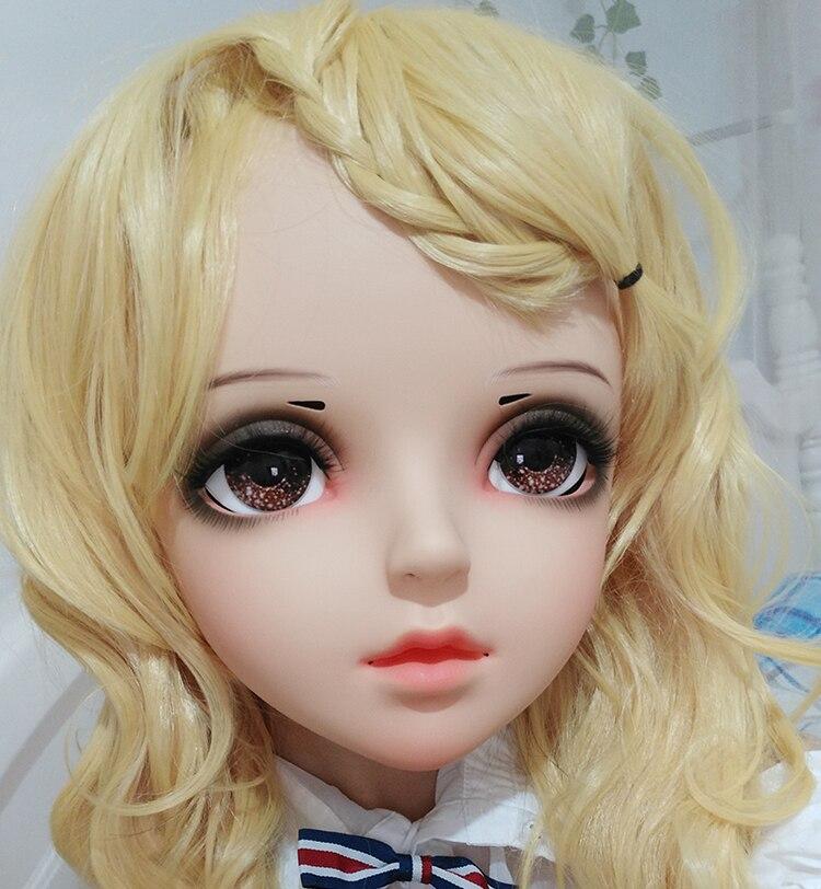 (Shelly) femme Douce Fille De Résine Demi-Tête Kigurumi BJD Yeux Crossdress Cosplay Japonais Anime Rôle Lolita Masque Avec Yeux Et Perruque