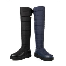high quality down warm snow boots women round toe platform thigh high boots fashion zipper over the knee boots