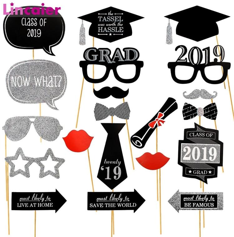 Lincaier 20pcs Photo Booth Props Graduation Party Decoration 2019 Bachelor  Cap Grad Congrats Graduated Supplies
