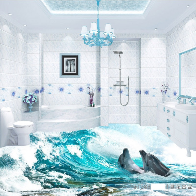 Free Shipping Custom Green Sea World 3D Floor Painting Mural Living Room Hotel Home Lobby Floor Wallpaper