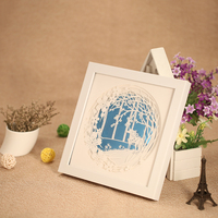 24x24cm DIY 3D Painting With Frame Delicate Laser Cut Paper Engraving Picture Wall Decoration Room Decals