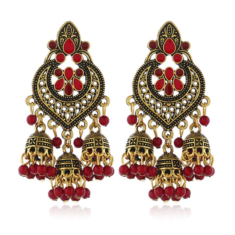 Retro Indian Bollywood Kundan Jhumka Jhumki Drop Earrings Gypsy Fashion Jewelry