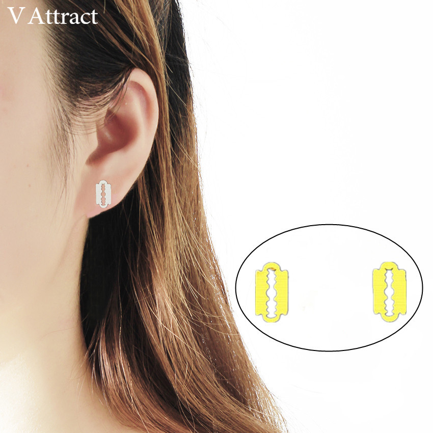 V Attract 10pair 2018 Hipster Unique Razor Blade Stud Earrings Women Men Jewelry Stainless Steel Punk Brincos