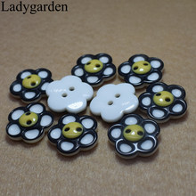 10PCS 17/20/25/30MM Cartoon Flower Buttons for Kids Baby Clothes Button Sewing Accessories Handmade Scrapbooking Decoration(China)