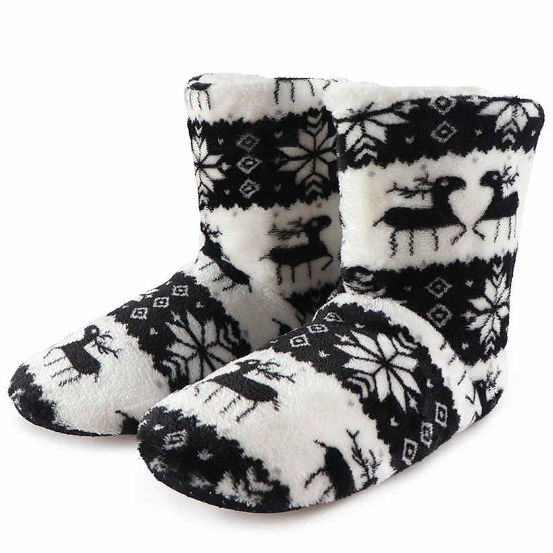 Hiver maison bottes dames chaussures femme noël Elk intérieur chaussettes chaussures chaud coton Bootie en peluche doux Botas Mujer Invierno 2020