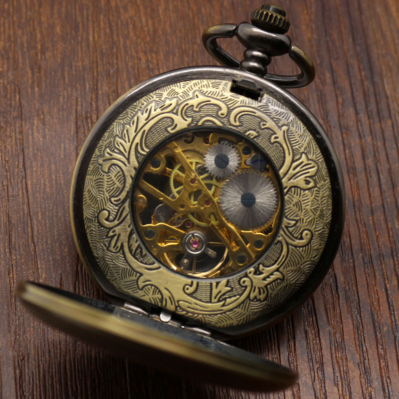 Antique bronze automatic pendant watch necklace roman numerals antique bronze automatic pendant watch necklace roman numerals double open face mechanical military pocket watch p822wbwb in pocket fob watches from mozeypictures Images