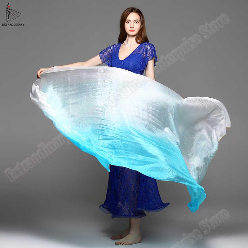 Новый танец живота шелковые вуали сценический представление обработанный вручную шарф шаль вуаль шелк Градиент Радуга 200 см 250 см 270 см дети взрослые