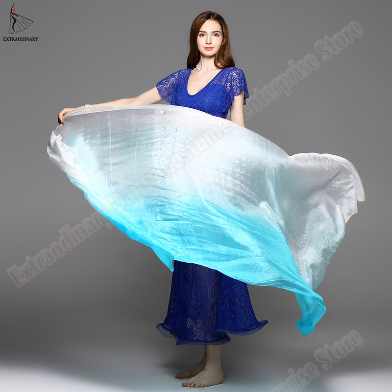 New Belly Dance Silk Veils Stage Performance Hand Thrown Scarf Shawl Veil Silk Gradient Rainbow 200cm 250cm 270cm Kids Adults