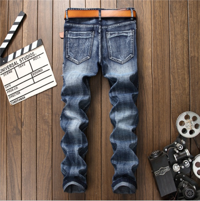 Pop Fashion High Quality Wash Patch Beggar Style Jeans 2