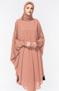 Image 5 - ラマダンロング khimar ヒジャーブベールスカーフイスラム教徒祈りアバヤ jilbab 女性オーバーヘッド中東 workship バットウィングスリーブドレス服