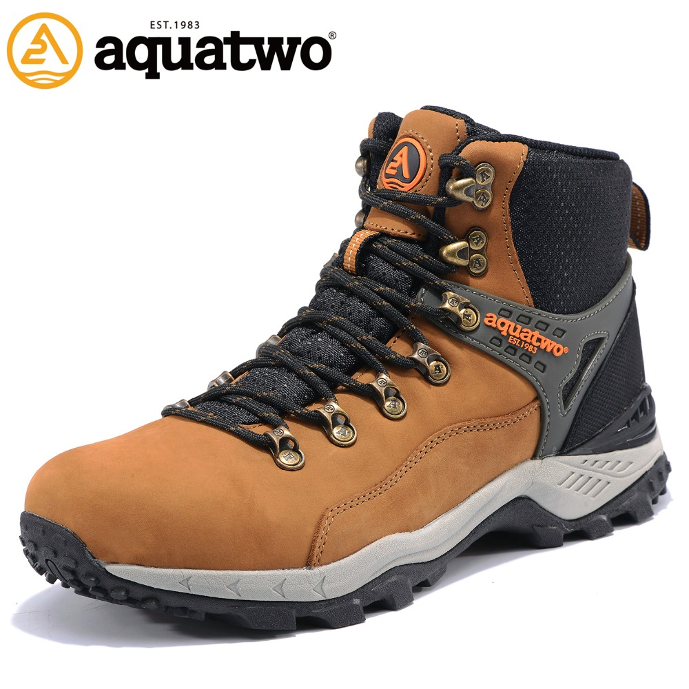 AQUA TWO Outdoor Camping Men Sports Hiking Shoes Walking Sneakers Boots Non-slip Metal Buckle Waterproof Durable Shoes HDS100937 big size 46 men s winter sneakers plush ankle boots outdoor high top cotton boots hiking shoes men non slip work mountain shoes