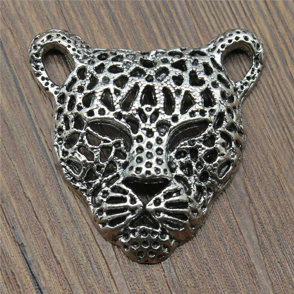 Leopard Head Charms Pendant Diy Metal Jewelry Making Antique Silver Color 1.8x1.7 inch (45x43mm) 3pcs/lot