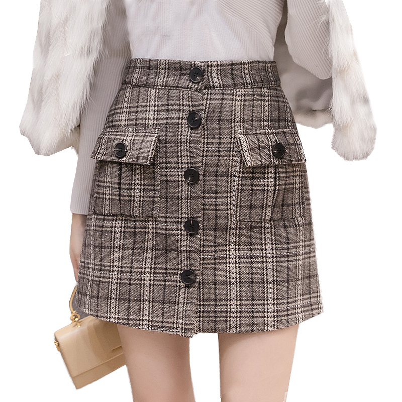 Spring Winter Mini Skirts Womens High Waist Elegant Wool Plaid Skirt Plus Size Warm Single-breasted Skirts Women jupe femme