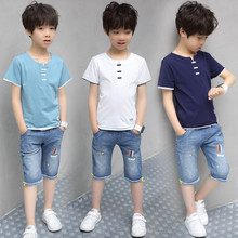 Children Clothing Sets Costumes For Boys Clothes Summer Toddler T-Shirt+Jeans 2018 Sport Suits Pockets Kids Clothes 6-15T Denim цена