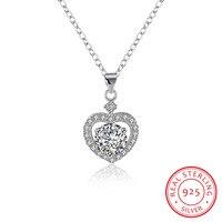 Wedding Jewelry Luxury 925 Sterling Silver Heart With Zircon Pendants Necklace For Women Fine Jewelry Love