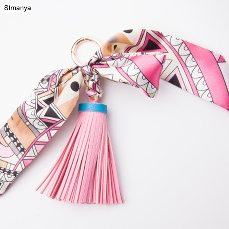 Lovely Soft Leather Tassels Keychain Bowknot Scarf Pendant Bag Charm Accessories Creative Key Chain Fashion Car Key Holder K1690